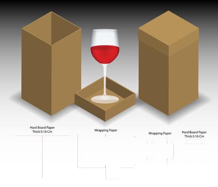 rigid box for wine glass mockup with dieline