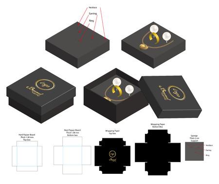 caja rígida para collar, anillo, pendiente, producto, maqueta