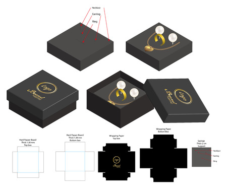 rigid box for necklace ring earring product mockup Ilustrace
