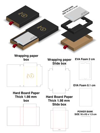 power bank rigid slide sleeve box mockup dieline