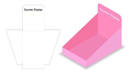 maqueta 3d de exhibición de contenedores con plantilla dieline Ilustración de vector