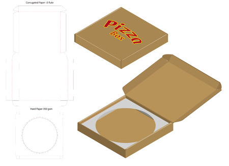 pizza box corrugated package die cut with mock up