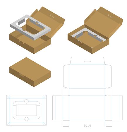 Caja de paquete corrugado troquelada con maqueta 3d Ilustración de vector