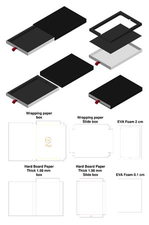 rigid slide sleeve box mockup with dieline Stock Illustratie