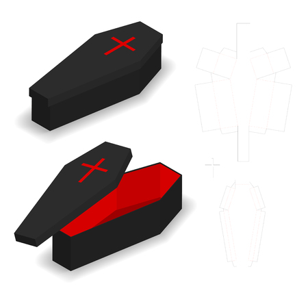 Hard paper coffin box mockup with dieline
