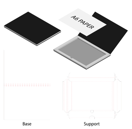 card or voucher box 3d mockup with dieline