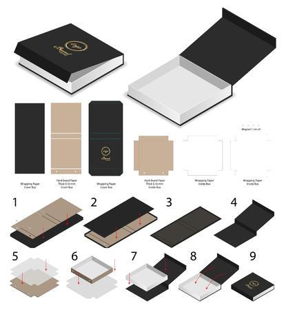 剛性磁石ボックステンプレート3dモックアップとダイライン 写真素材 - 105109139
