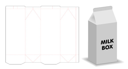 milk box template 3d mockup with dieline