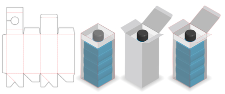 cosmetic box with bottle tube neck lock dieline Illustration