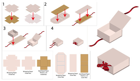 ribbon rigid box mockup with dieline Vectores