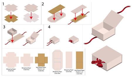 mockup di scatola rigida a nastro con fustella Vettoriali