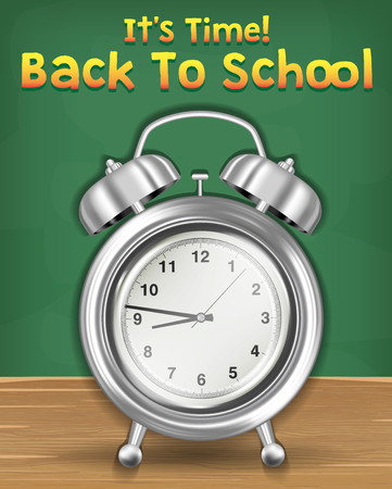 back to school time with alarm clock Illustration