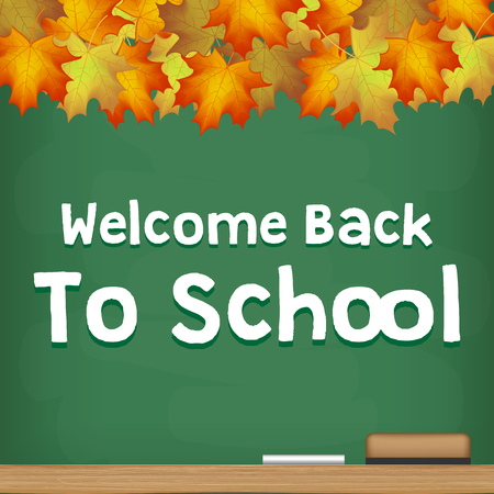 welcome back to school chalkboard autumn season Illustration