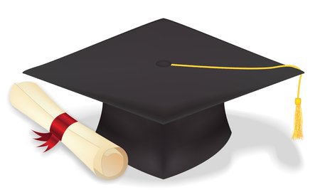 student graduation hat with diploma Illustration