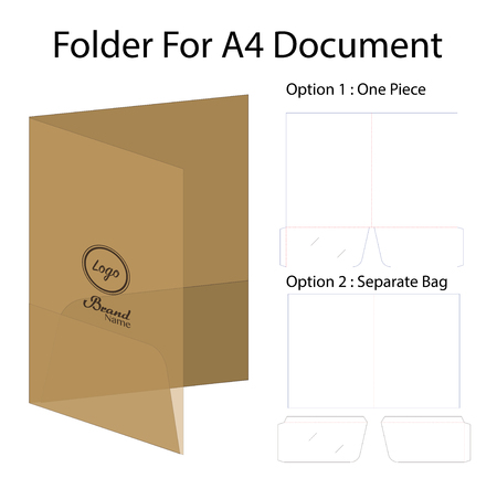 A4 document folder mockup with dieline 일러스트