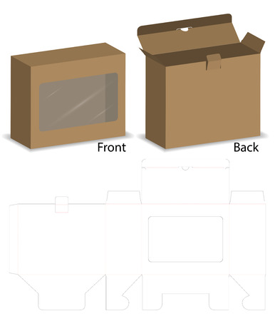 box with plastic window mockup with dieline