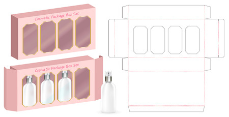 hard paper box for 4 cosmetic bottle template