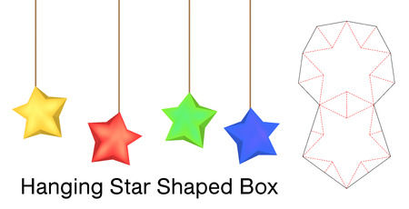Hanging star shaped box mockup with die line Illustration