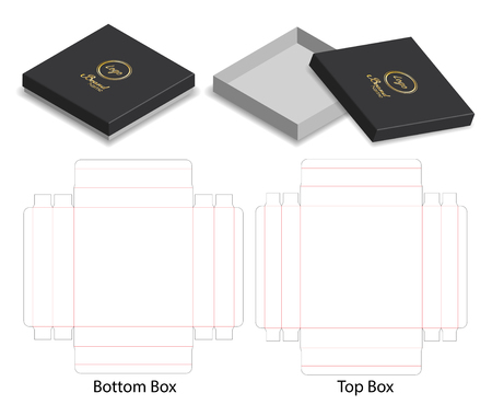 hard paper box 3d mockup with dieline Vectores