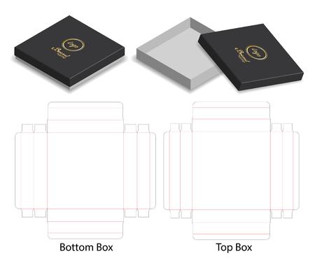 harddocument doos 3d mockup met dieline Vector Illustratie