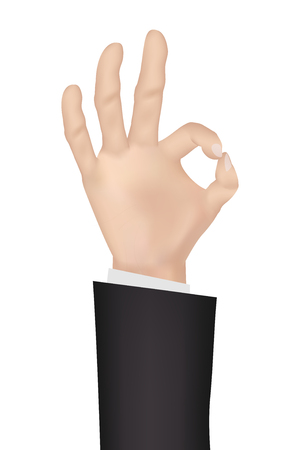 hand with OK signal on white background Illustration