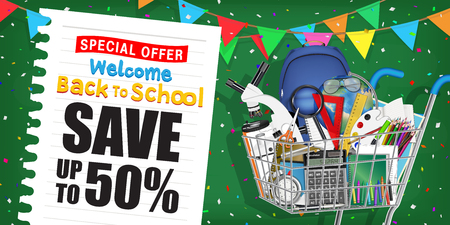 back to school sale promotion poster with shopping cart