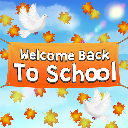 back to school vinyl banner on autumn sky