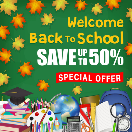 autumn leaf back to school sale with student items