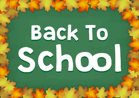 autumn maple leaf on back to school chalkboard Illustration