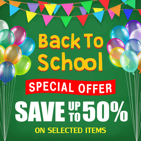 back to school sale poster with student items Illustration