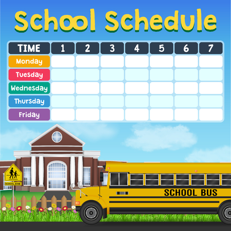 school schedule timetable with student items