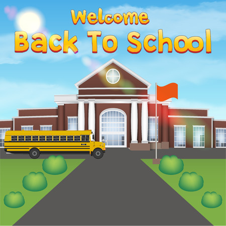 welcome back to school with front school building Illustration