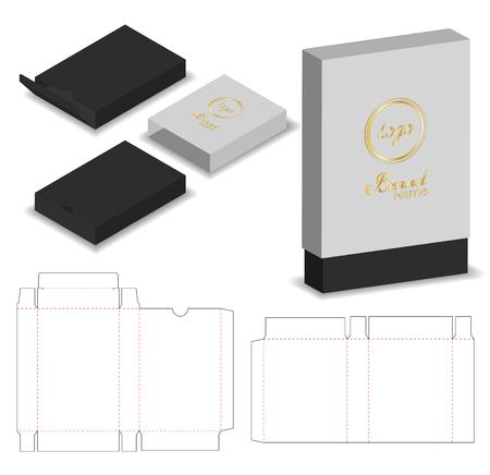 caja de la manga del paquete troquelada con maqueta 3d Ilustración de vector