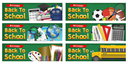 back to school study object on chalkboard banner Illustration