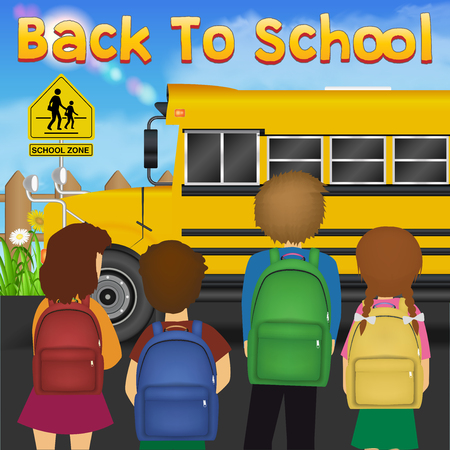 back to school with student in front of school bus