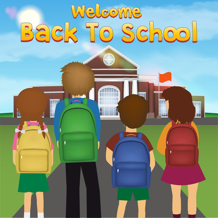 back to school with student kid in front of school Illustration