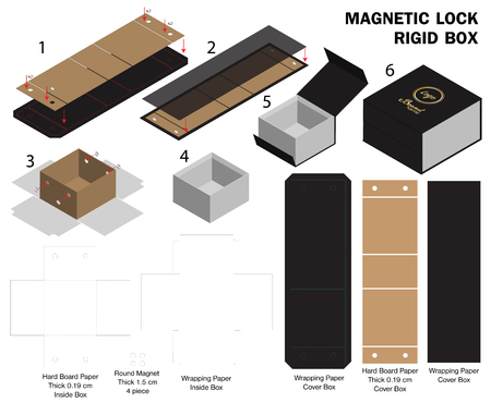 rigid magnet box template 3d mockup with dieline