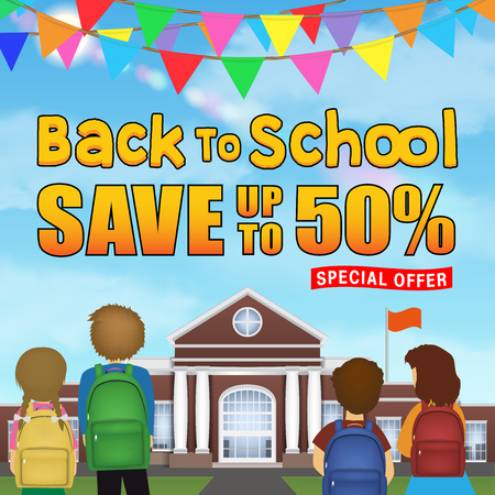 back to school sale student kid in front of school Banque d'images - 105999524