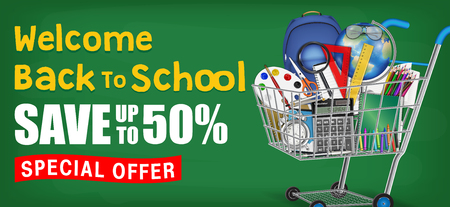 back to school with cart full of education object Illustration