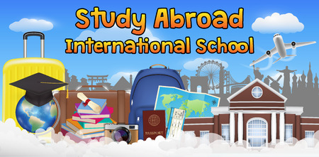 study abroad international school banner poster Illustration