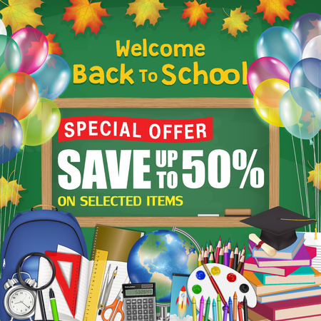 chalkboard back to school sale promotion poster