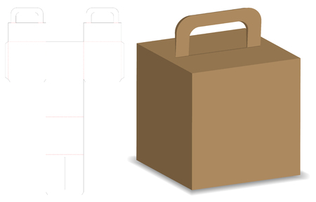 packaging box 3d mockup with dieline template Illustration