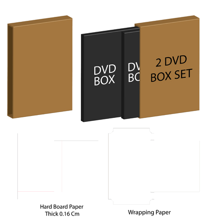 dvd paper packaging box die-cut line template Illustration