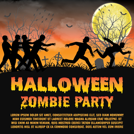 halloween zombie party with zombies escape Illustration