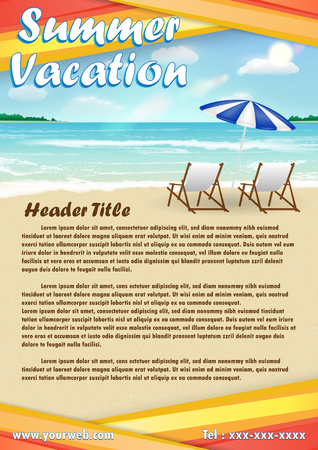 summer vacation with sand  beach poster banner Illustration