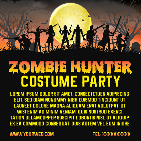 halloween zombie hunter costume party promote  poster