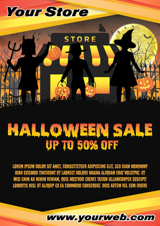 halloween store shop open in  graveyard poster Illustration
