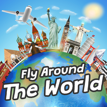 fly around the world airplane and world landmark