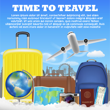 time to travel with airplane suitcase luggage bag Illustration