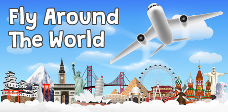 fly around the world with airplane and landmark